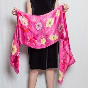 Pink, floral, silk scarf by Ralph Lauren